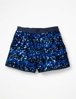 Cobalt Blue Sequin Stripe Sequin Shorts