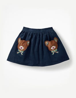 Navy Teddy Bears Fun Pocket Skirt