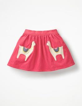Pink Berry Llamas Fun Pocket Skirt
