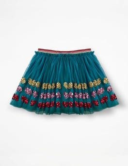 Drummer Blue Sequin Hearts Appliqué Tulle Skirt