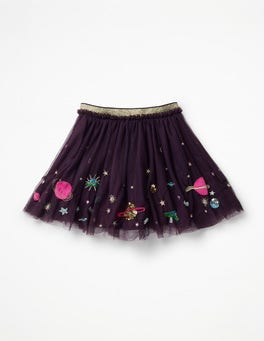 Winter Purple Galaxy Appliqué Tulle Skirt