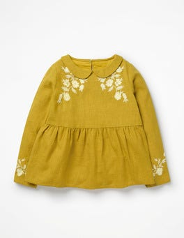 Golden Glow Yellow Embroidered Woven Top