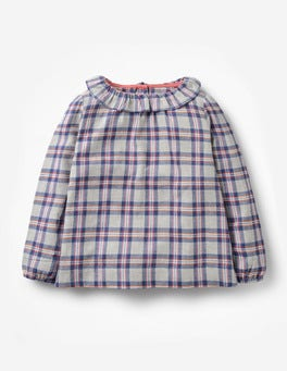 Grey Marl Check Frill Neck Woven Top