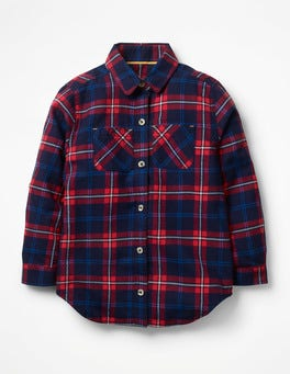 School Navy/Poppy Red Check Check Shirt
