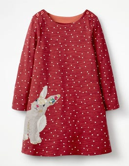 Bramble Red Rabbit Spotty Animal Appliqué Dress