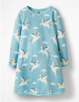 Blue Rainbow Unicorns Reversible Jersey Dress
