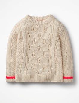 Ecru Marl Textured Cable Knit Jumper