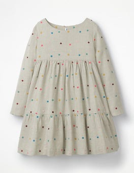 Oatmeal Multi Spot Embroidered Tiered Dress