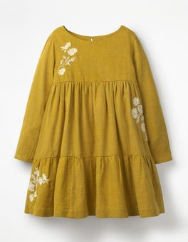 Golden Glow Yellow Embroidered Tiered Dress