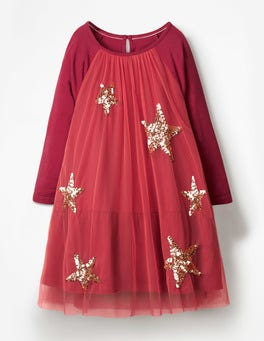 Rosette Pink Sparkle Overlay Jersey Dress