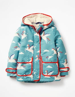 Blue Rainbow Unicorns Sherpa-Lined Anorak