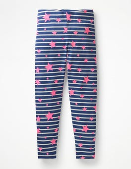 Navy/Ivory Pink Stars Fun Leggings