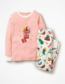 Ivory Festive Fun Cosy Long John Pyjamas