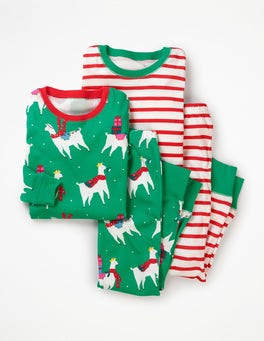 Green Pepper Fa-la-la-llamas Twin Pack Long John Pyjamas