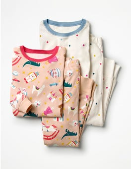 Provence Dusty Pink Toy Box Twin Pack Long John Pyjamas