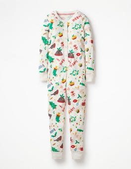 Ivory Festive Fun Cosy All-in-one Pyjamas