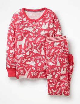 Pink Berry Woodblock Henley Pyjama Set