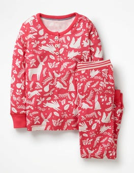 Pink Berry Woodblock Henley Pajama Set