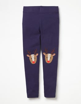 Prussian Blue Reindeers Appliqué Leggings