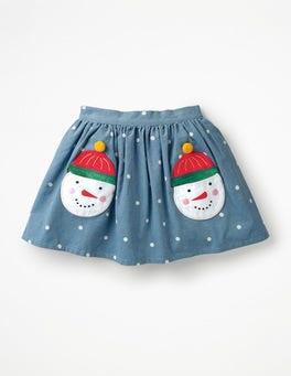 Boathouse Blue Jolly Snowmen Fun Pocket Skirt