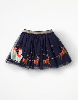 Prussian Blue Sleigh Scene Appliqué Tulle Skirt