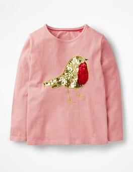 Vintage Pink Robin Colour-change Festive T-shirt