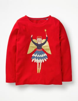 Polish Red Angel Festive Flutter T-shirt