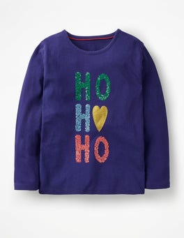 Prussian Blue HO HO HO Festive Sequin T-shirt