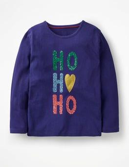 Prussian Blue HO HO HO Festive Sequin T-shirt
