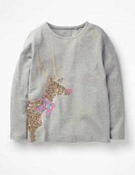 Grey Marl Reindeer Festive Sequin T-shirt