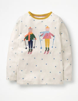 Ecru/Boathouse Blue Spot Festive Friends T-shirt