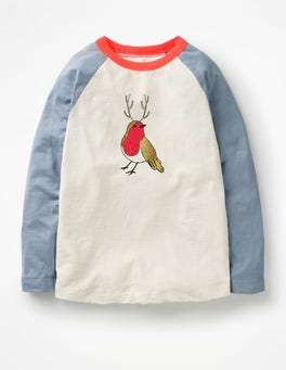 Ecru/Boathouse Blue Robin Festive Raglan T-shirt