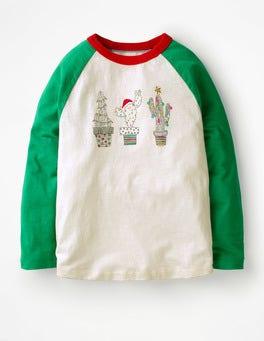Ecru/Green Pepper Cacti Festive Raglan T-shirt