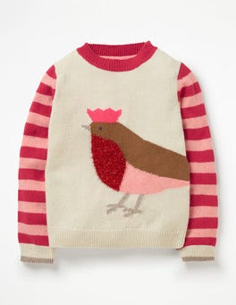 Ecru Marl Robin Festive Friends Jumper