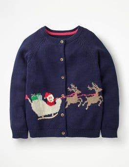 Prussian Blue Sleigh Festive Fun Cardigan