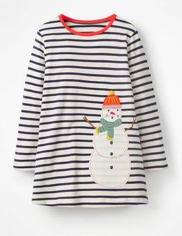 Ecru/Prussian Blue Snowman Festive Appliqué Tunic