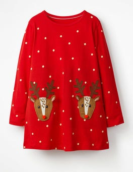 Polish Red/Ecru Reindeers Festive Appliqué Tunic
