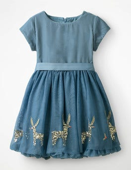 Boathouse Blue Festive Scene Velvet Appliqué Dress