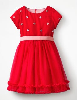Polish Red Sequin Spot Velvet Appliqué Dress