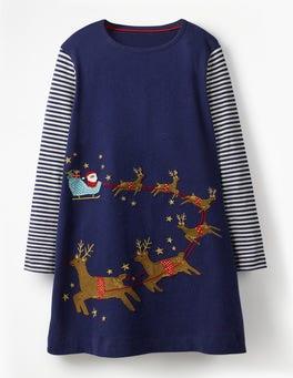 Berliner Blau, Schlittenmotiv Festliches Kleid mit großer Applikation