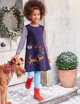 Festive Big Appliqué Dress