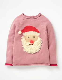 Vintage Pink Father Christmas Ho Ho Ho Jumper