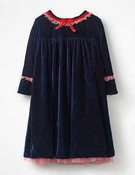 Frill Trim Velvet Party Dress