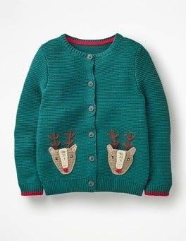 Drake Green Reindeers Reindeer Pocket Cardigan