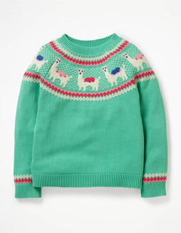 Jungle Green Llamas Llama Fair Isle Jumper