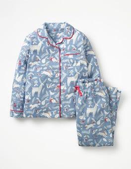 Boathouse Blue Woodblock Festive Pyjama Set