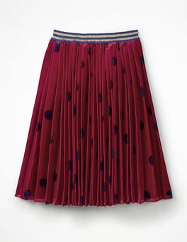 Bramble Red/Navy Spot Pleated Velvet Midi Skirt