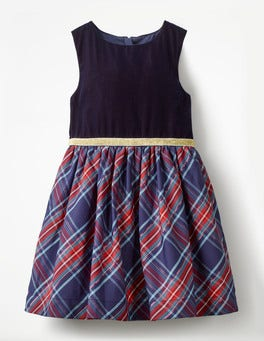 Prussian Blue/Engine Red Check Check Party Dress