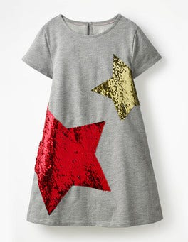 Grey Marl/Rainbow Sequins Colour-change Sequin Tee Dress