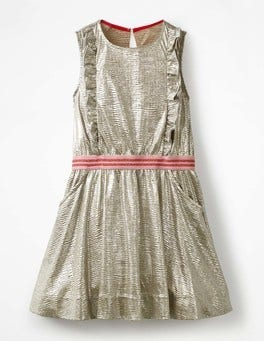 Metallic Silver Metallic Ruffle Detail Dress